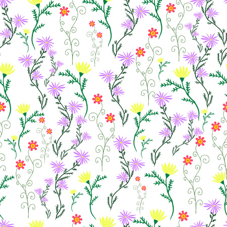 leafed: Summer wild flowers pattern.