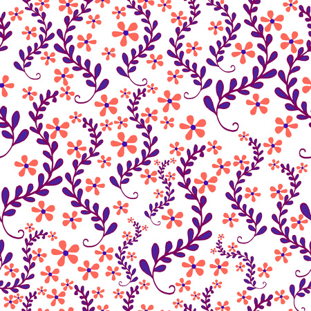 leafed: Floral seamless pattern, beautiful, field of small flowers in foliage, pastel color, on white background. Vector hand drawn illustration. Illustration
