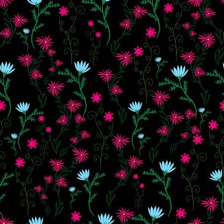 Wild, campestral, ornamental flowers, blue crimson color on a black background. Beautiful floral seamless pattern. Vector hand drawing illustration. Illustration