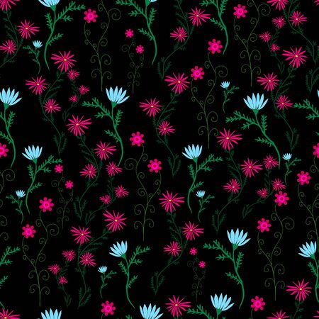 leafed: Wild, campestral, ornamental flowers, blue crimson color on a black background. Beautiful floral seamless pattern. Vector hand drawing illustration. Illustration