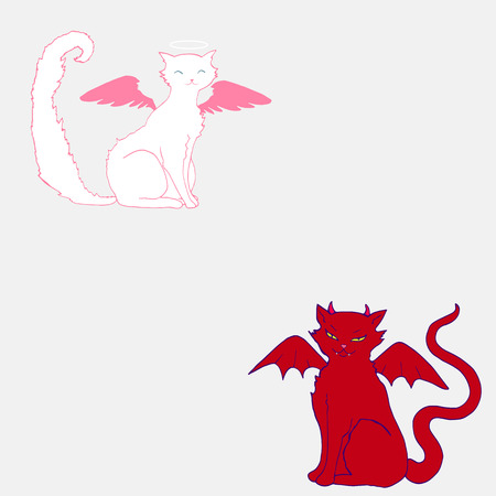 Cat angel,white color, pink wings and a halo above the head, and the cat devil, with horns, fangs,arrogant grin, scarlet skin color and wings, isolated, comic style. Vector hand drawn illustration.