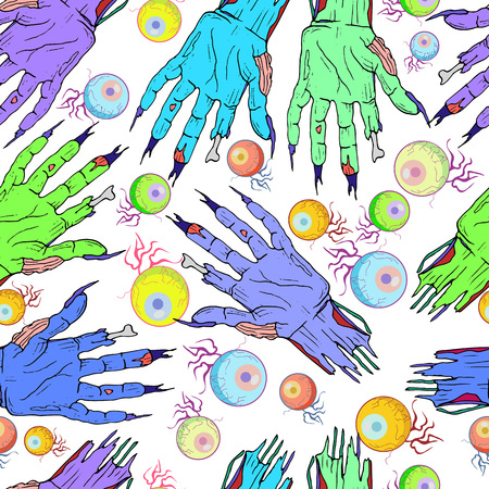 Seamless zombie hand, eye pattern. Halloween cartoon, funny background with colorful palms and eyes on a white background. Vector hand drawn illustration.