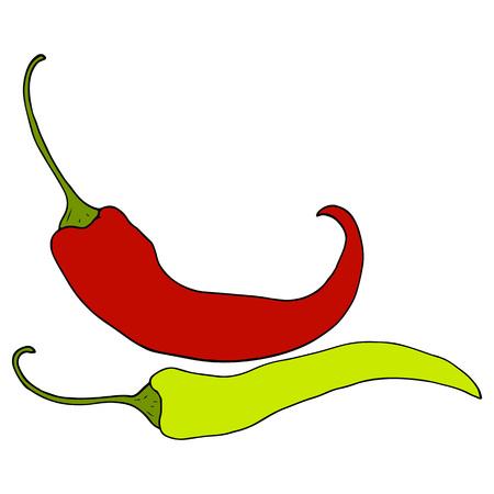 2 つの熟した、赤、緑唐辛子は、白い背景のスタイル ベクトル図をスケッチします。現実的な手描き、熟した赤と緑唐辛子、スケッチ スタイルのイ
