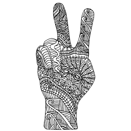 Black white hand pattern, doodle style,beautiful design element, isolated white background.Decorative palm,showing the symbol of peace. Coloring for children and adults.Vector hand drawn illustration. Vettoriali