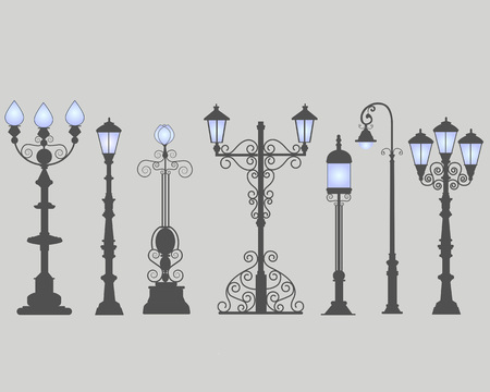 city background: Collection of seven street lamps, isolated gray background. Figured forged street lights. Vector design classic lamps. Set street decorative forging blue light.