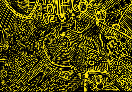 rainbow: Decorative, abstract, background, psychedelic ethnic style, yellow outline on a black background. Stylish card, graphic design.  Vector hand drawn illustration.