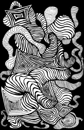 hand print: Black white decorative abstract pattern, many lines, waves, sketch style. Psychedelic stylish card. Vector hand drawn illustration.