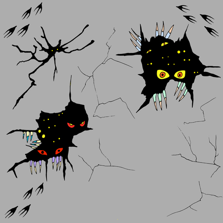 Hand drawn monsters peeping out of cracks in the wall,vector halloween cartoon background,sketch style illustration,glowing eyes in a black crack,eerie claws rending the wall,paw prints on the wall.