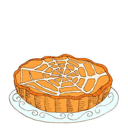 Comic style, hot, freshly baked pumpkin, fruit pie, glaze in the form of web, cartoon vector illustration, isolated on white background. Illustration