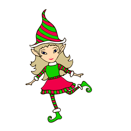 Hand drawing cute elf in a cap, isolated on white background, cartoon style illustration, vector bright New Year character.
