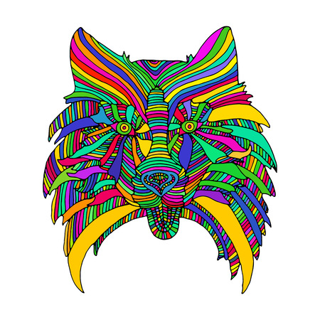 Dog head, bright psychedelic animal pattern, isolated on white background, vector decorative card, hand drawing funny muzzle dog.
