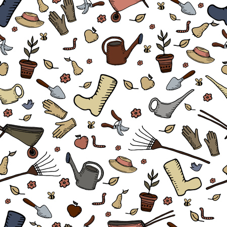 Satz Von Cartoon Gartengeräte, Pflanzen Und Tiere, Obst Und Gemüse ...