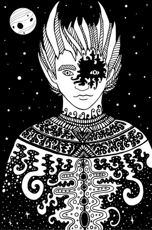 Surrealistic fantastic space man shaman, coloring page for kids and adults.