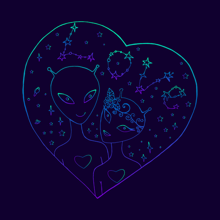 Festive alien background for Valentine s day. Illustration