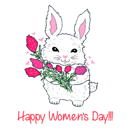 Cute fluffy bunny with a bouquet of flowers and flying hearts, isolated. Cartoon doodle style, vector hand drawing illustration with animal. Beautiful decorative festive card. Happy Women s Day.