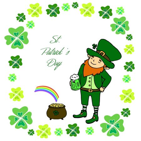 Funny little leprechaun with a mug of green beer, a pot of gold and a rainbow in the frame of the leaves of the clover. St. Patricks Day Vintage decorative background. Illustration