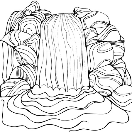 Waterfall coloring page for children and adults. Pattern isolated. Cartoon cascade and stones decorative element. Vector hand drawn anti stress  background. Funny doodle sketch style with a nature.