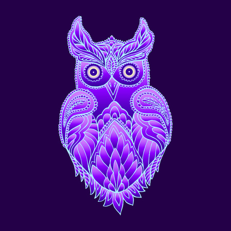 Fantasy mystical purple owl, neon color, psychedelic vintage style. Isolated pattern.