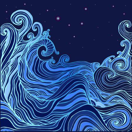 bleu et sombre bleu décoratif vagues et le ciel étoilé