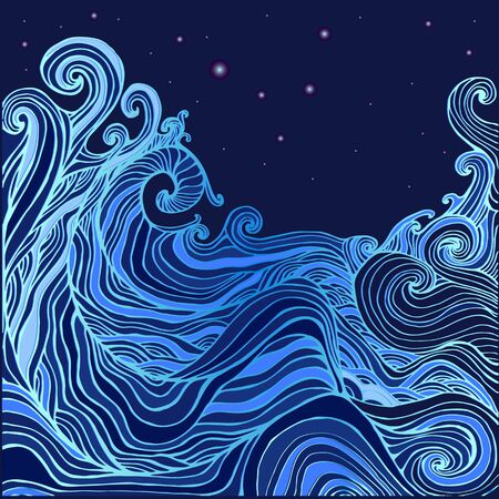 Blue and dark blue decorative doodles waves and the starry sky.