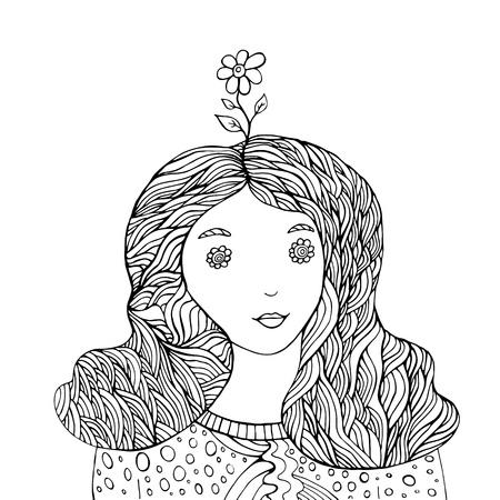 Flower girl fantasy coloring book Illustration
