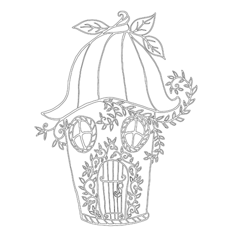 Fairy house  bellflower, childrens coloring book. Pattern isolate. Vector illustration Anti stress fantsy cartoon background with fairy house. Decorative element. Doodle funny style. Stock Photo
