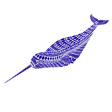 Fantasy ornamental narwhal blue color. Isolated pattern. Cartoon character of animals decorative element. Vector hands drawing doodle background.