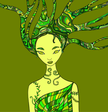 Fantasy woman forest shaman. Isolated pattern green color. Wood nature spirit . Decorative fantasy girl element. Doodle style. Vector hand drawn green woman background.
