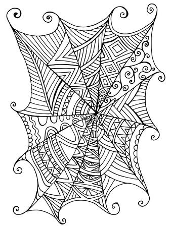 Bella ragnatela decorativa, libro da colorare per bambini. Modello isolato. Fondo del fumetto di fantasia antistress disegnato a mano di vettore con la ragnatela per halloween. Elemento decorativo. Stile divertente di scarabocchio. Vettoriali