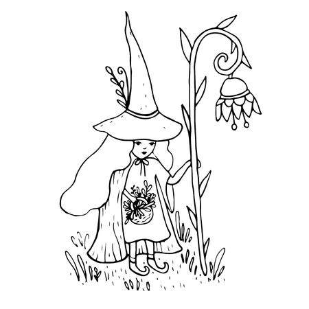 Little sorceress with a staff in the form of a flower collects herbs, coloring page for children and adults. Fantasy is a magic witch. Isolated pattern. Vector hand drawn anti-stress card.  Çizim