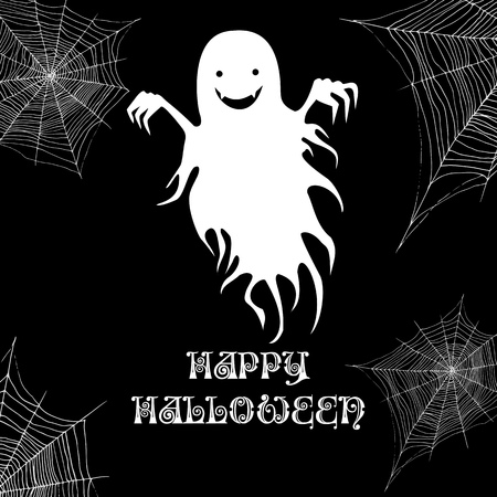 Ghost and cobweb, happy halloween background. Vector cartoon illustration. Black and white page for adults and children october holiday monster. Night party celebration invitation poster. Stock Illustratie