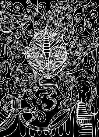 Chaman esprit noir et blanc. Femme doodle fantaisie surréaliste. Art fantastique avec une fille aux cheveux ornementaux. Vector illustration décorative dessinée à la main.
