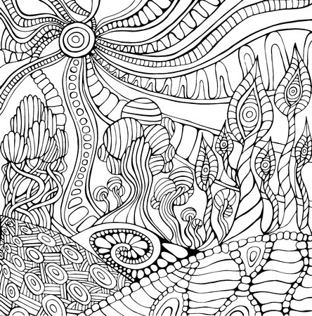 Doodle surreal landscape coloring page for adults. Fantastic psychedelic graphic artwork. Vector hand drawn fantasy illustration. Ilustrace