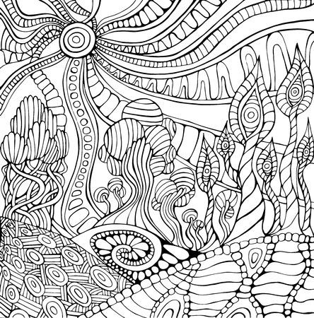 Doodle surreal landscape coloring page for adults. Fantastic psychedelic graphic artwork. Vector hand drawn fantasy illustration. Иллюстрация