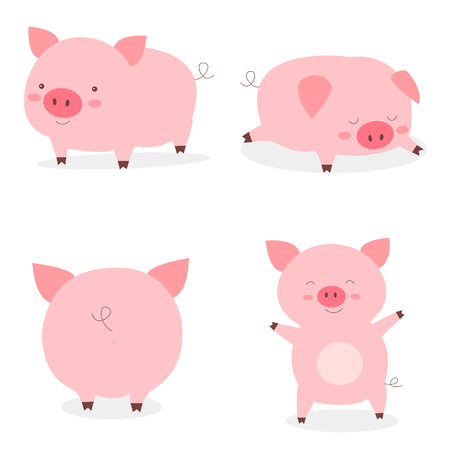 Set fat little cute pigs.The year of the pig. Funny pigs vector cartoon illustration. Collection animal new year 2019 Stock Illustratie