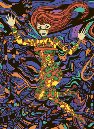 Colorful fantastic beautiful girl. Surreal doodle style sci fi woman. Vector hand drawn fantasy people illustration.
