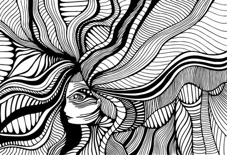 Fantástica chica surrealista con cabello ondulado, página para colorear para adultos. Fondo de estilo doodle de arte de línea. Vector dibujado a mano ilustración de mujer psicodélica de fantasía antiestrés.