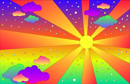 Paisaje psicodélico vintage con sol y nubes, estrellas. Fondo de colores degradados brillantes de dibujos animados de vector. Paisaje de estilo hippie. Ilustración de vector