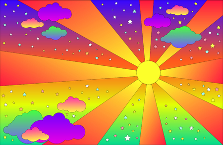 Paysage psychédélique vintage avec soleil et nuages, étoiles. Fond de couleurs dégradées lumineuses de dessin animé de vecteur. Paysage de style hippie. Vecteurs