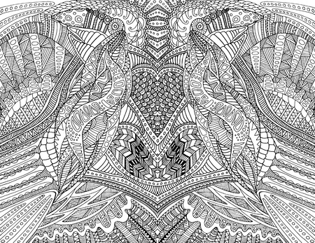 Coloring page abstract pattern, maze of ornaments. Psychedelic stylish card. Vector hand drawn illustration Antistress psychedelic tribal background. Black and white symmetrical decorative element.