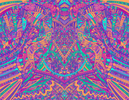 Psychedelic creative colorful symmetrical pattern design art. Surreal abstract decorative pattern with doodle maze of ornaments. Vector hand drawn illustration.