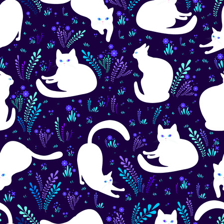 Beautiful white cats in different poses on a background of flowers, grass and dark violet background, fantasy seamless pattern. Vector surreal texture with animals, cartoon style. Ilustração