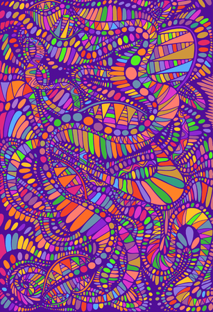 Psychedelic colorful surreal background. Bright colors abstract texture, maze of ornaments. Vector hand drawn illustration.
