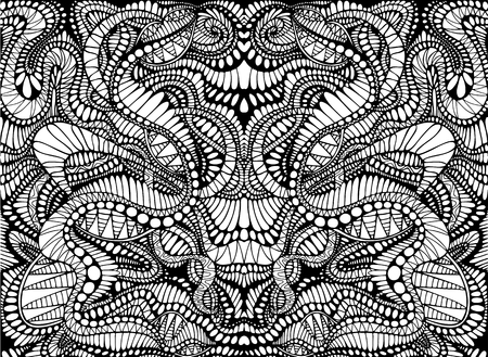 Coloring page abstract pattern, maze of ornaments. Psychedelic stylish card. Vector illustration Antistress psychedelic tribal background. Black and white symmetrical decorative element.