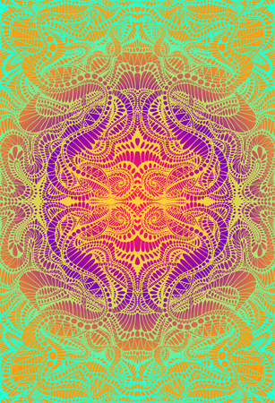 Psychedelic trippy colorful fractal mandala, gradient bright color outline, on vibrant gradient colors background. Decorative element flower pattern. Vector hand drawn shamanic fantasy background.