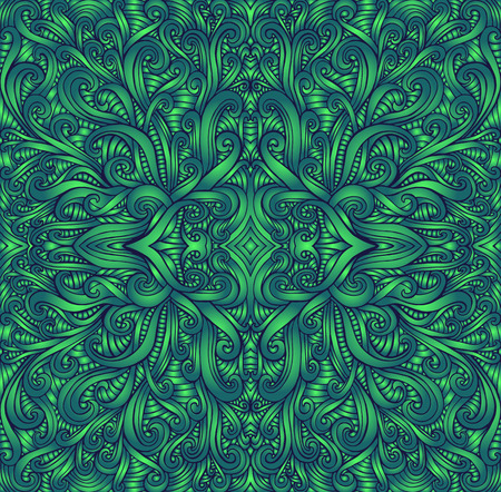Shamanic fractal mandala texture. Ethno style. Ggradient green colors. Decorative tribal element flower pattern. Vector fantasy surreal background illustration.
