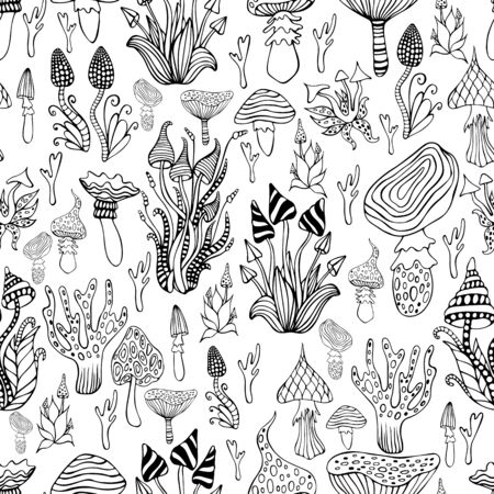 Seamless pattern with psychedelic mushroom, black and white color. Monochrome hallucinogenic fantasy mushrooms background. Each mushroom has its own pattern. Vector hand drawn doodle style texture. Illustration