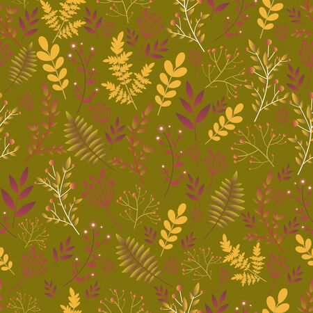 Forest wild flowers seamless floral pattern. Decorative flowers and plants, crimson purple dusty brown gradient color, isolated on a khaki color background. Original vector floral texture.