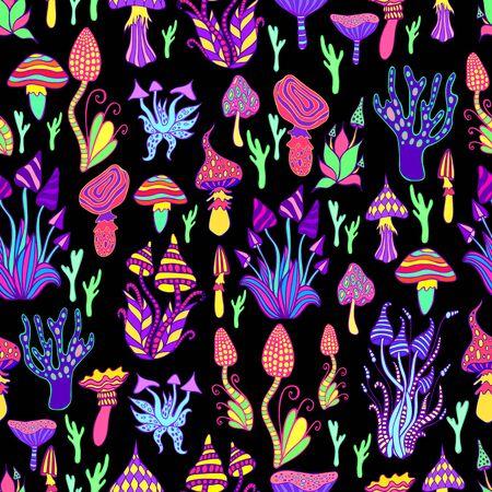 Bright, hallucinogenic, decorative, fantastic mushrooms, rainbow colors, each mushroom has its own pattern. Psychedelic mushroom seamless pattern, black background. Vector hand drawn illustration. Illustration