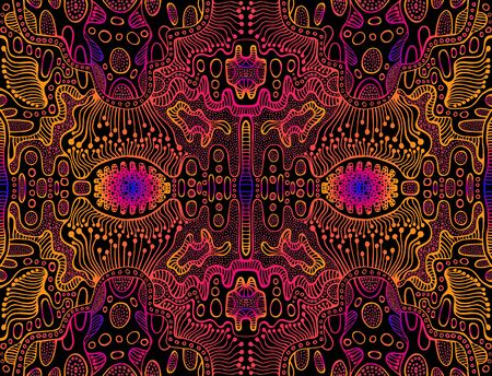 Space psychedelic trippy abstract texture, bright pink, electric blue, orange gradient color outline,black background. Decorative surreal original pattern.Vector shamanic fantasy fractal illustration. Stockfoto - 124995469